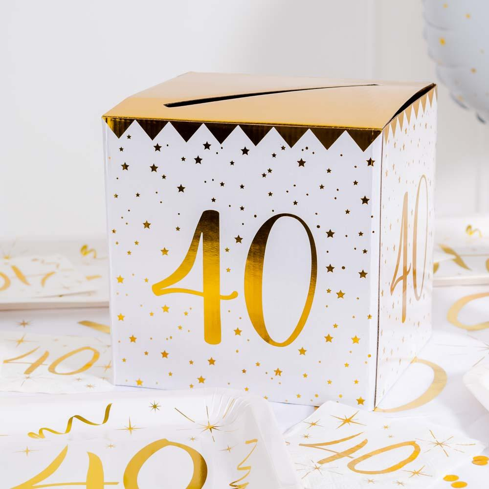 40th Birthday White & Gold Sparkle Card Box
