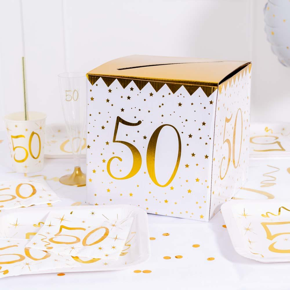 50th Birthday White & Gold Card Collection Box
