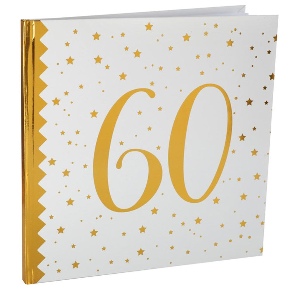 60th Birthday White & Gold Guest Book