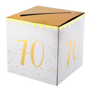 70th Birthday White & Gold Sparkle Card Box