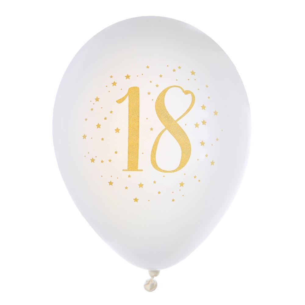 "18th Birthday 9"" White & Gold latex balloon (x8)"