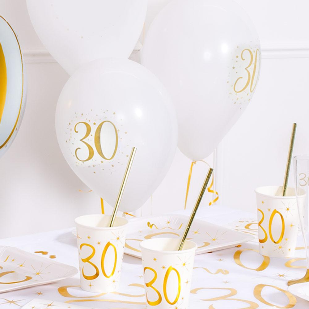 "30th Birthday 9"" White & Gold latex balloon (x8)"
