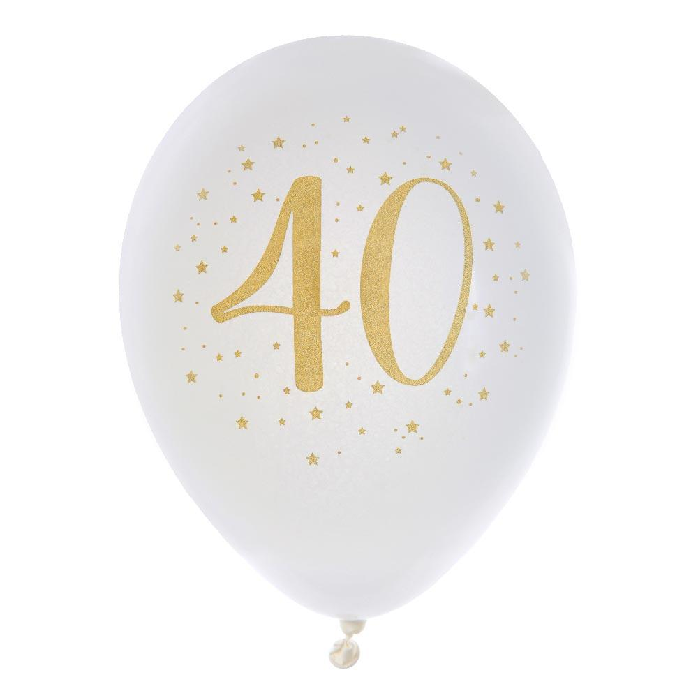 40th Birthday White & Gold Sparkle Latex balloon (x8)