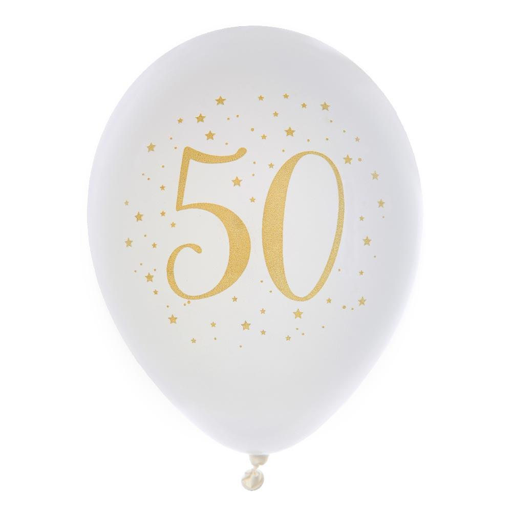 50th Birthday White & Gold Sparkle Latex balloon (x8)