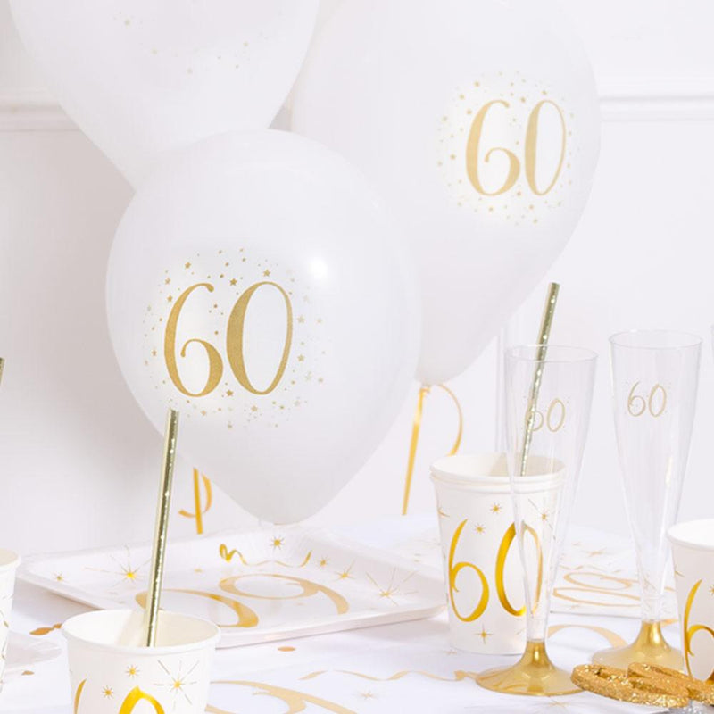 60th Birthday White & Gold Sparkle Latex balloon (x8)