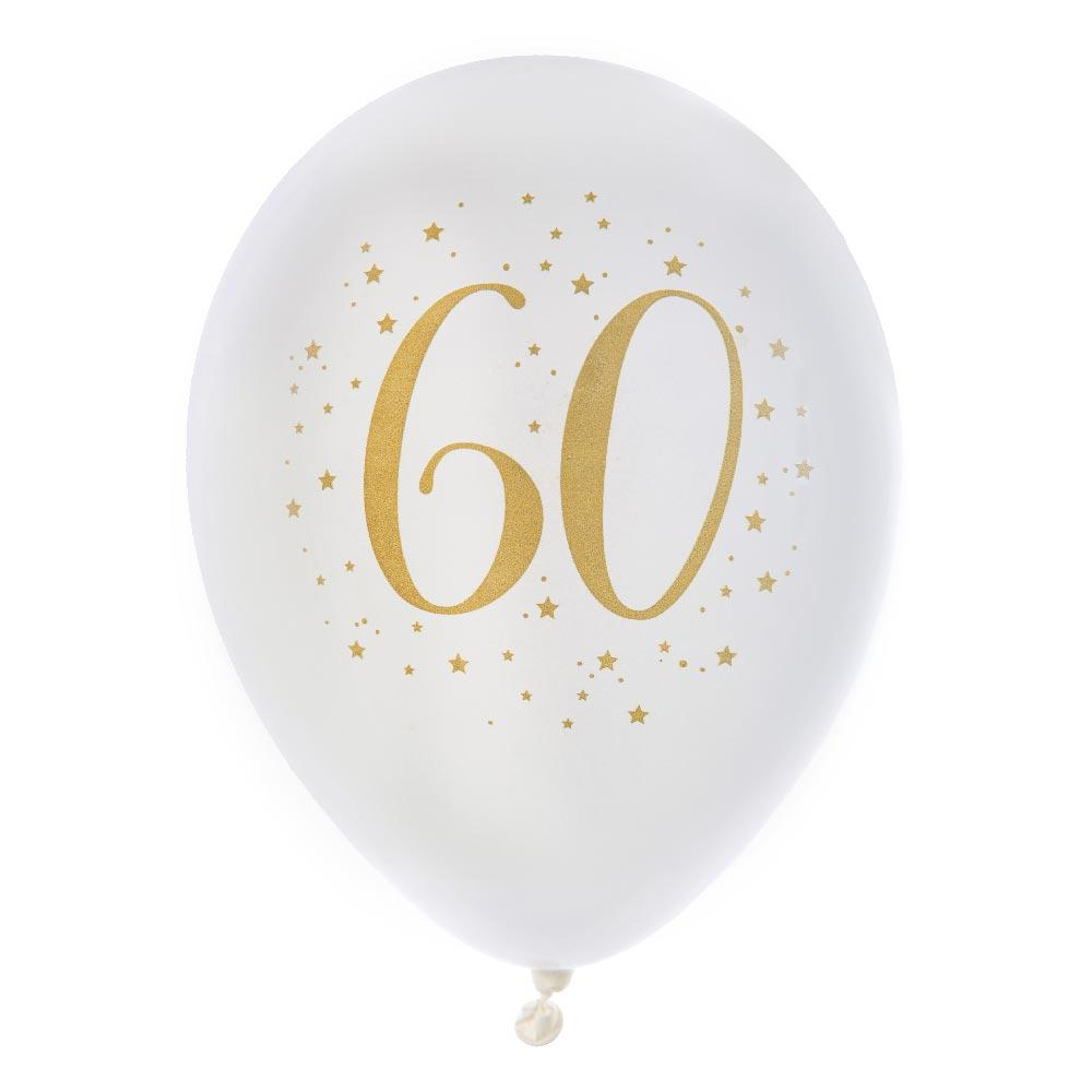 "60th Birthday 9"" White & Gold latex balloon (x8)"