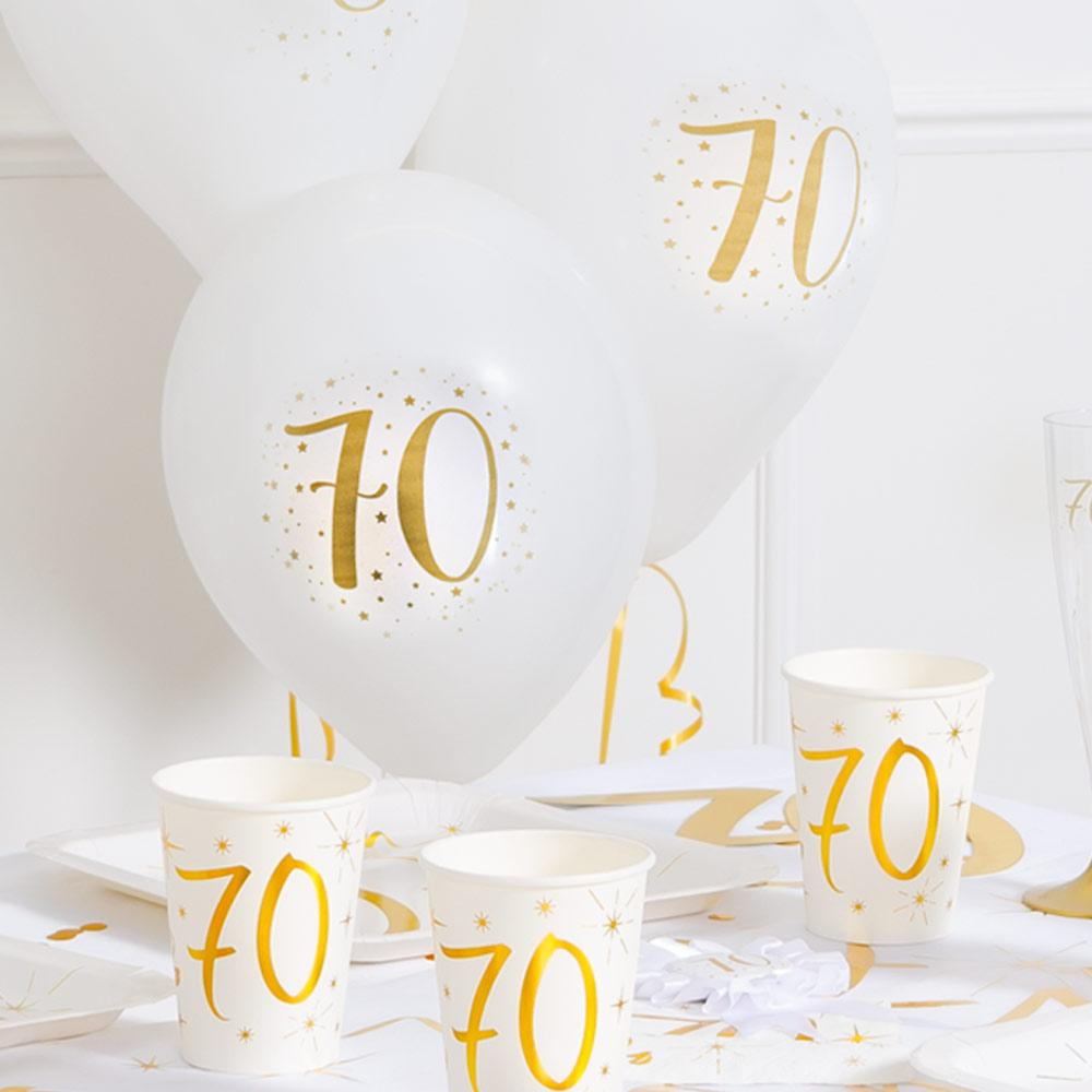 70th Birthday White & Gold Sparkle Latex balloon (x8)