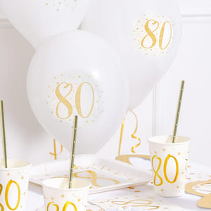 "80th Birthday 9"" White & Gold latex balloon (x8)"