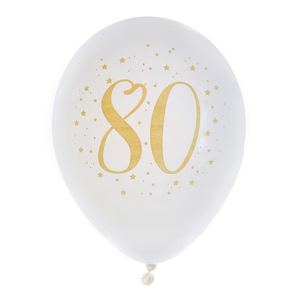 80th Birthday White & Gold Sparkle Latex balloon (x8)