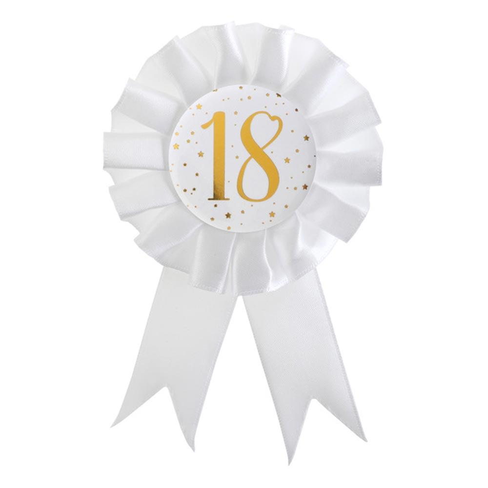18th Birthday White & Gold Rosette