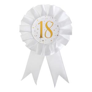 18th Birthday White & Gold Sparkle Rosette