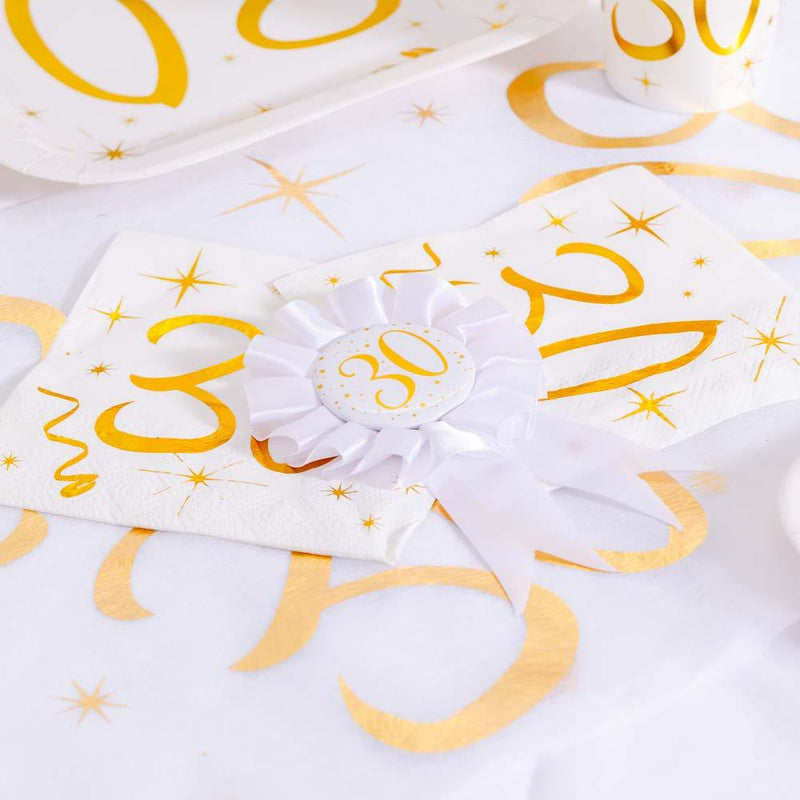 30th Birthday White & Gold Sparkle Rosette