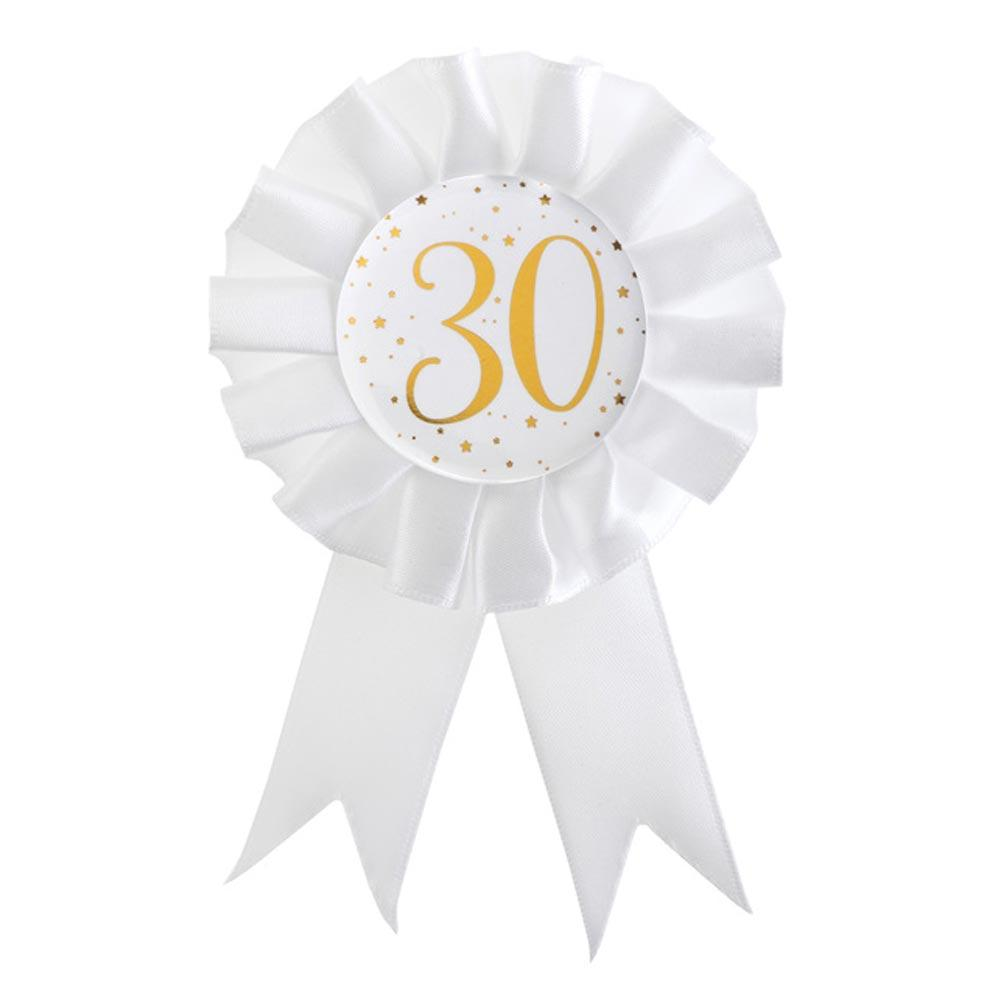 30th Birthday White & Gold Rosette