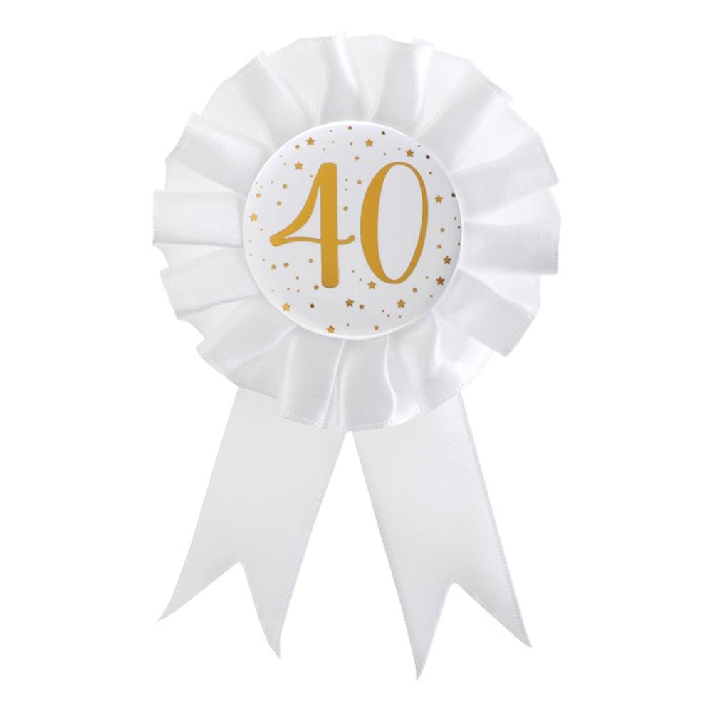 40th Birthday White & Gold Sparkle Rosette