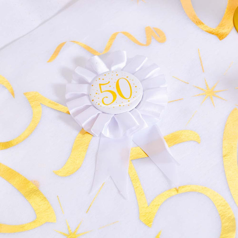 50th Birthday White & Gold Sparkle Rosette
