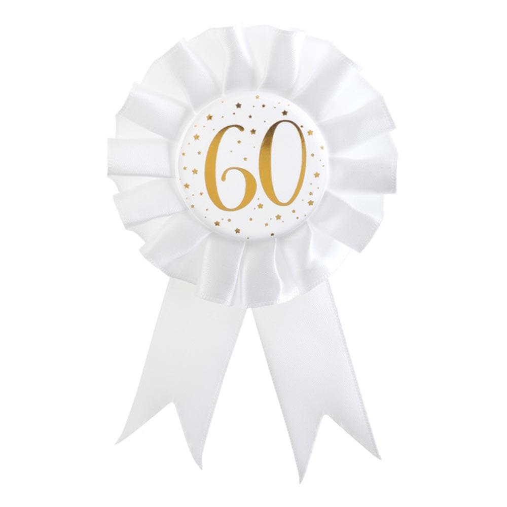 60th Birthday White & Gold Rosette