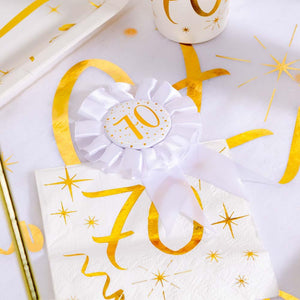 70th Birthday White & Gold Rosette