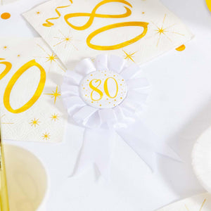 80th Birthday White & Gold Rosette