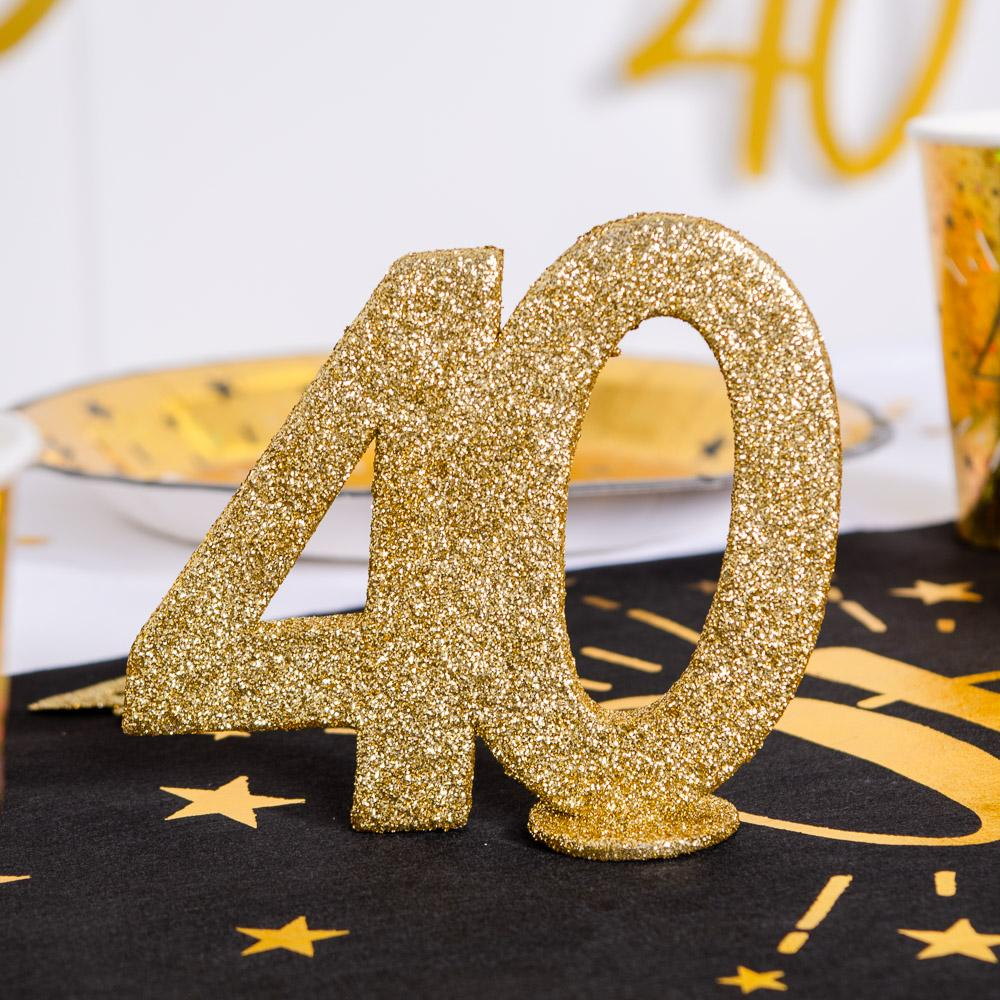 40th Birthday Glitter Table Decoration