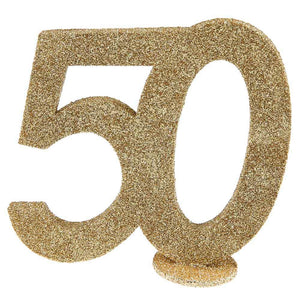 50th Birthday Glitter Table Decoration