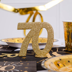70th Birthday Glitter Table Decoration