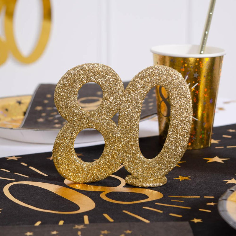 80th Birthday Glitter Table Decoration