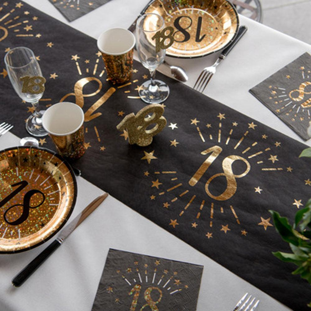 18th Birthday Black & Gold Sparkle Table Runner