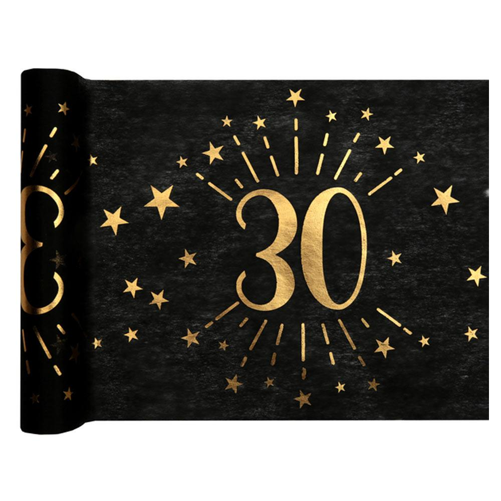 30th Birthday Black & Gold Sparkle Table Runner