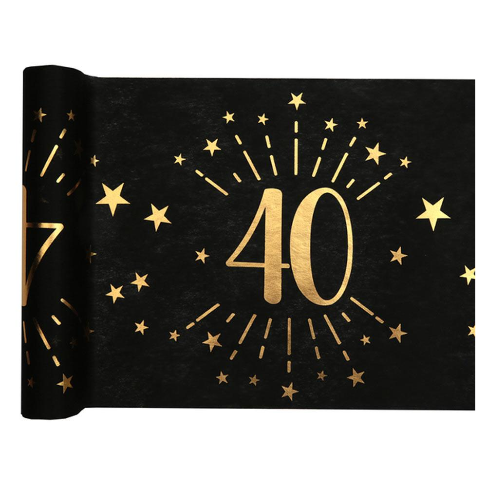 40th Birthday Black & Gold Sparkle Table Runner