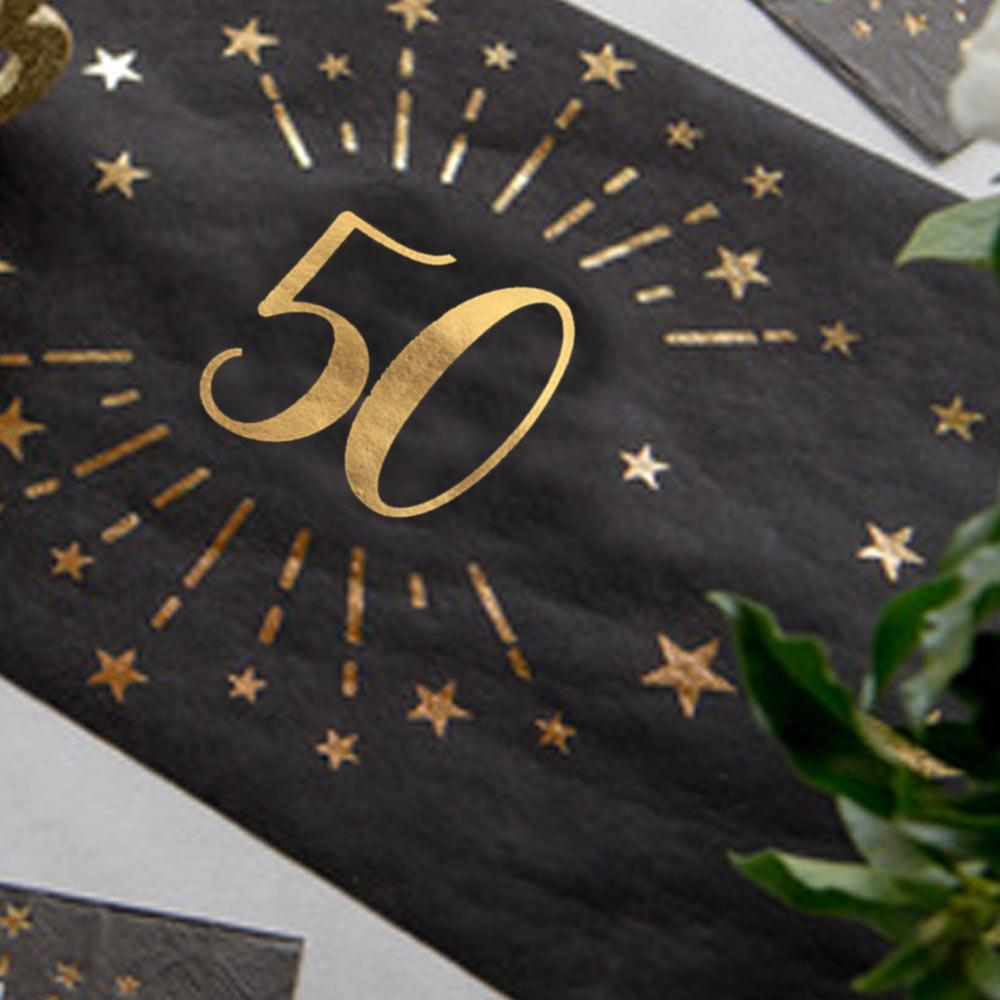 50th Birthday Black & Gold Sparkle Table Runner