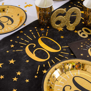 60th Birthday Black & Gold Sparkle Table Runner
