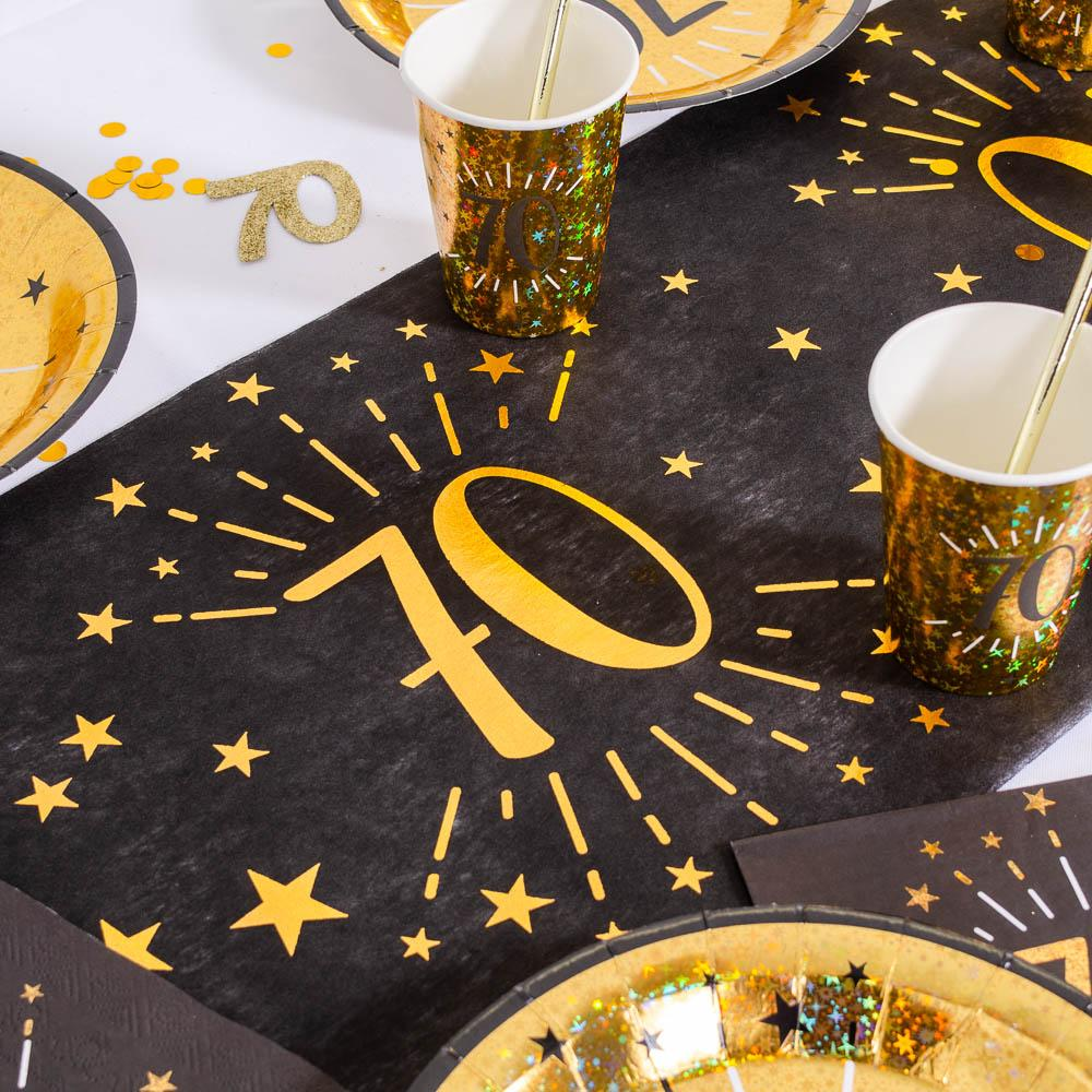 70th Birthday Black & Gold Sparkle Table Runner