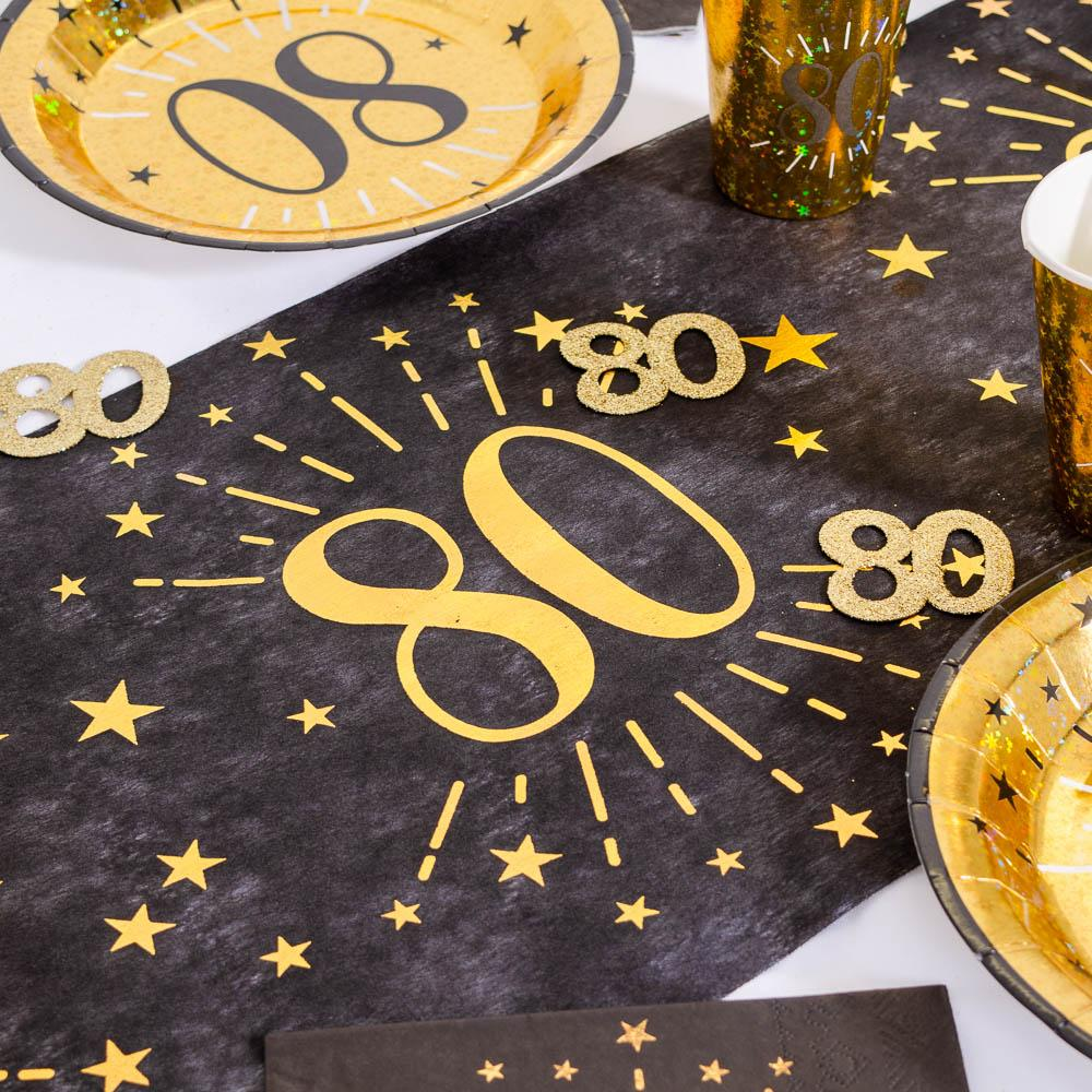 80th Birthday Black & Gold Sparkle Table Runner