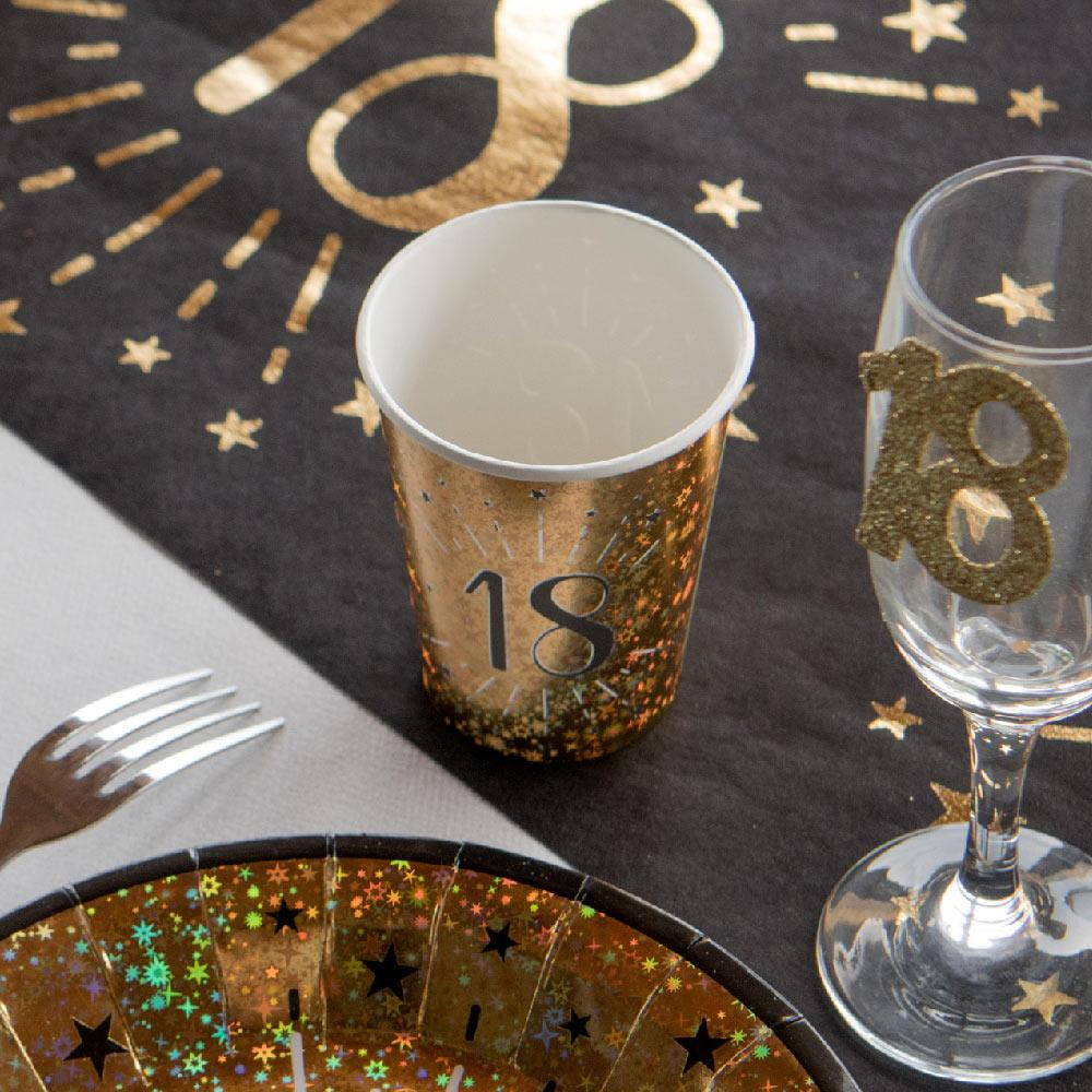18th Birthday Black & Gold Sparkle Cups (x10)