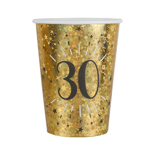 30th Birthday Black & Gold Sparkle Cups (x10)