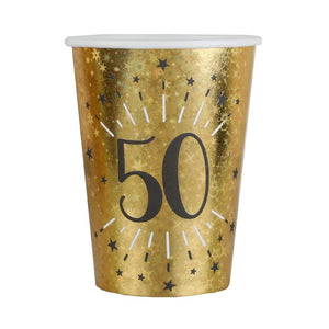 50th Birthday Black & Gold Sparkle Cups (x10)