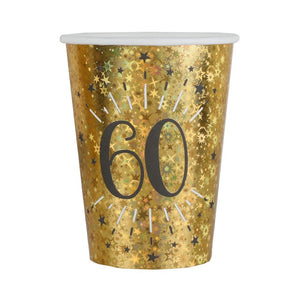 60th Birthday Black & Gold Sparkle Cups (x10)