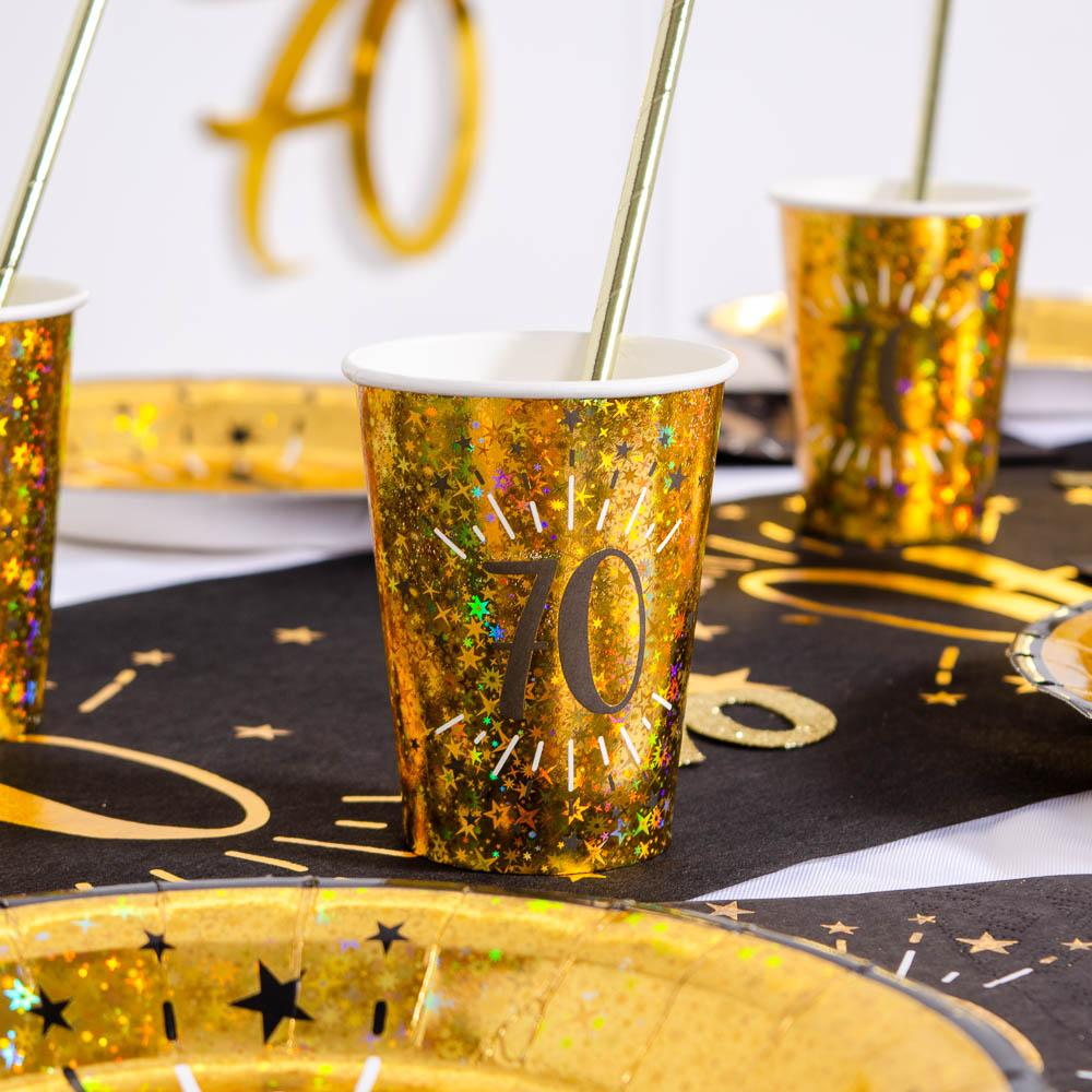 70th Birthday Black & Gold Sparkle Cups (x10)