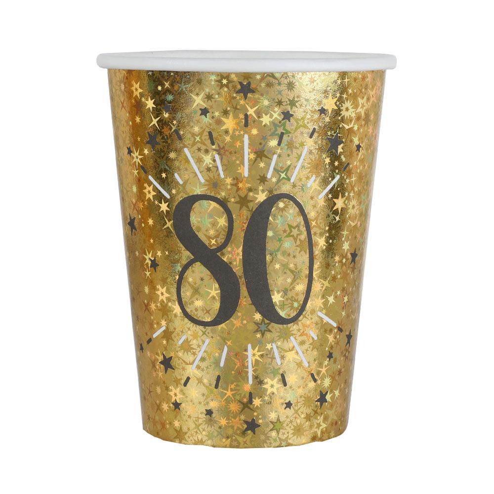 80th Birthday Sparkling Cups (x10)