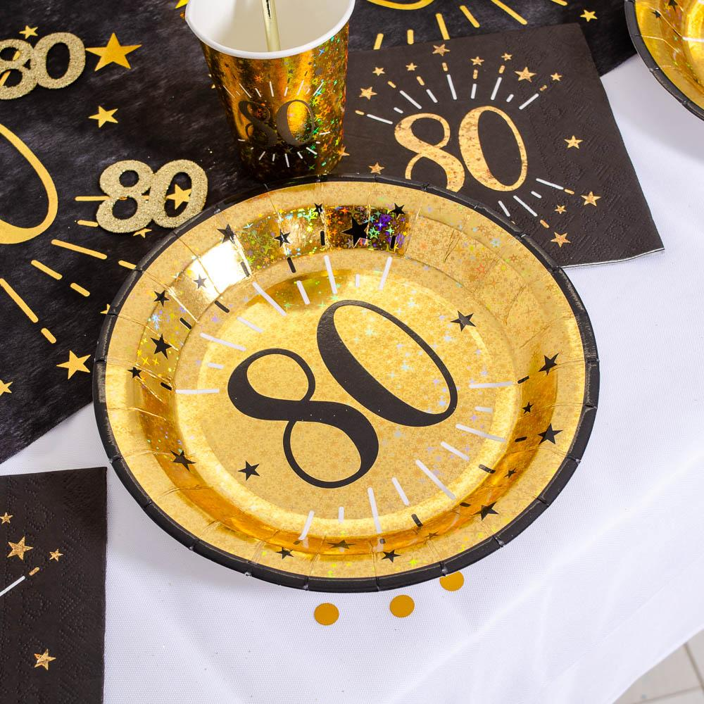 80th Birthday Black & Gold Sparkle Plate (x10)