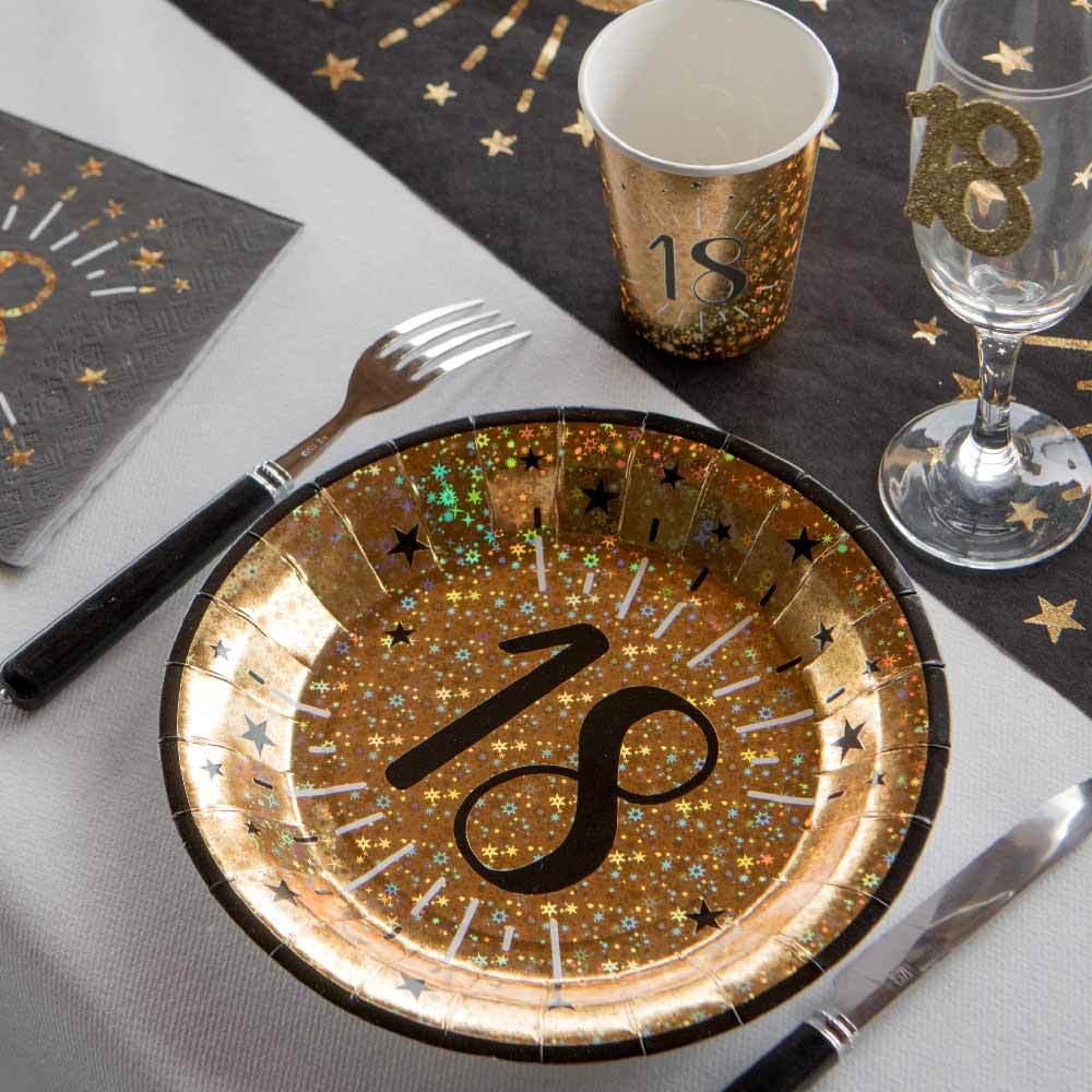 Click to view product details and reviews for 18th Birthday Black Gold Sparkle Plates X10.