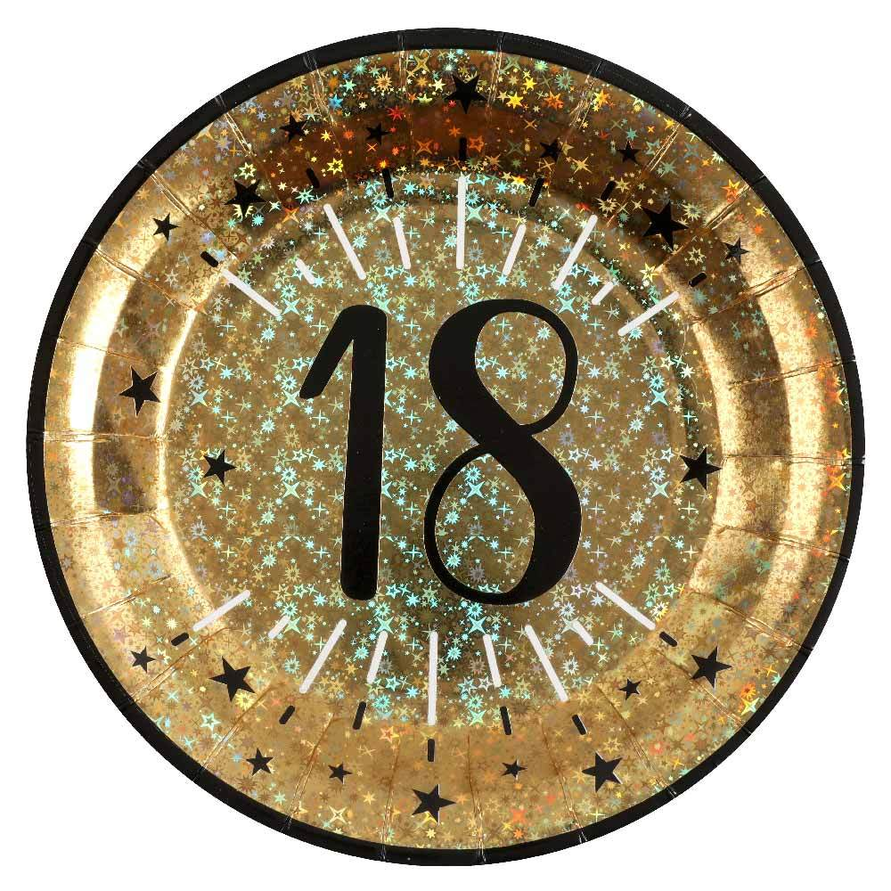 18th Birthday Black & Gold Sparkle Plates (x10)