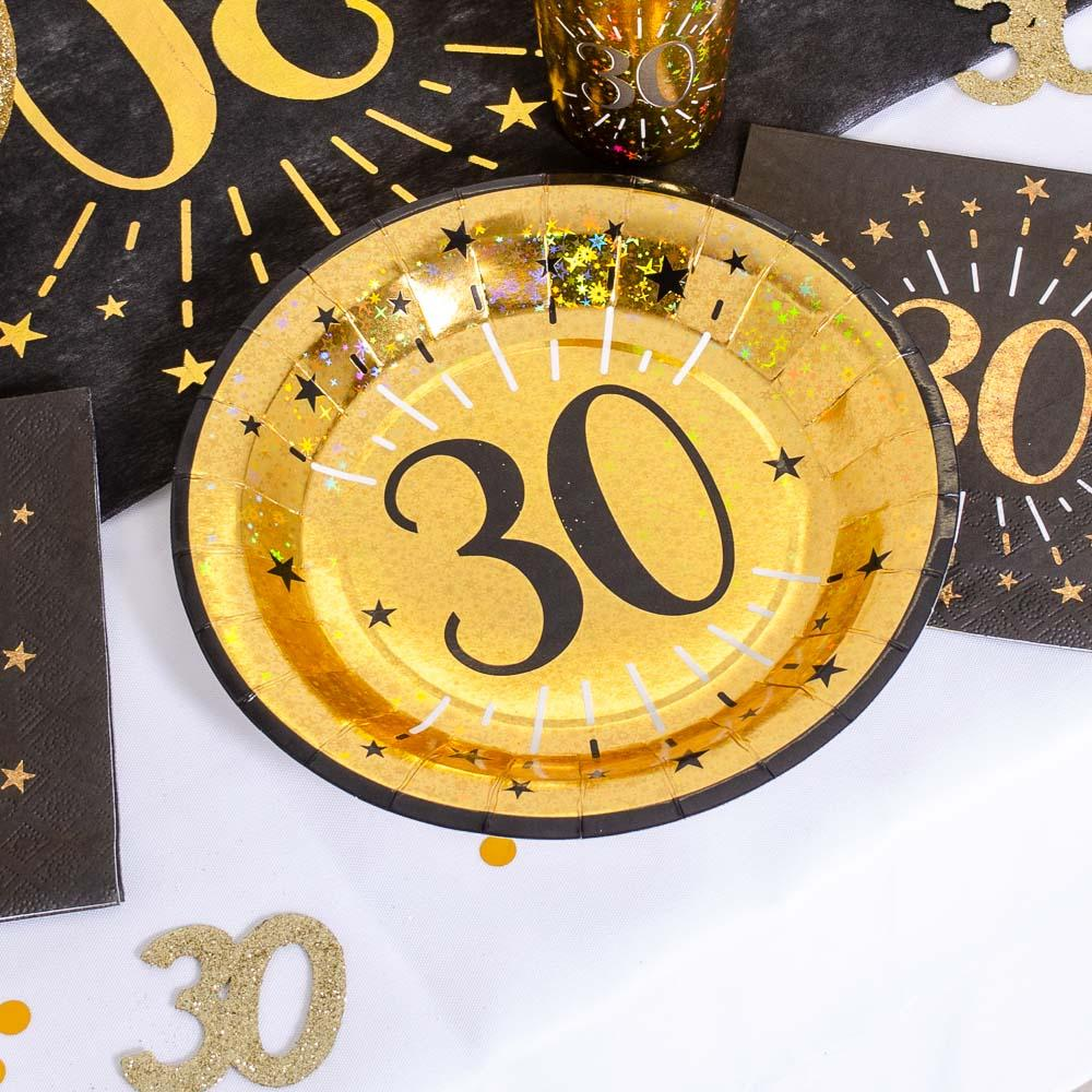 30th Birthday Black & Gold Sparkle Plates (x10)