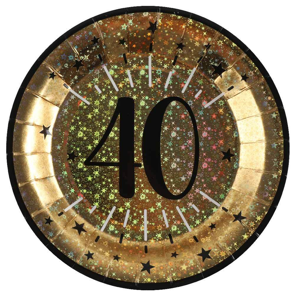 40th Birthday Sparkling Plates (x10)