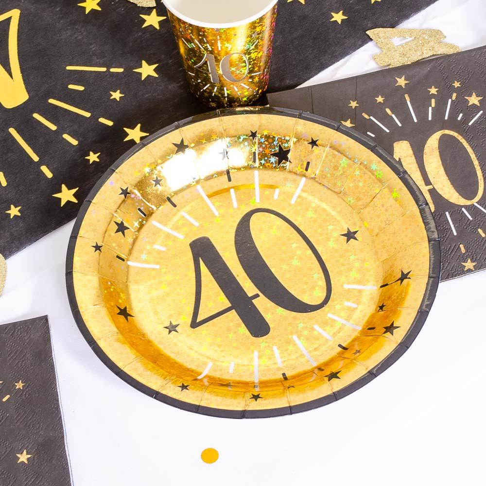 40th Birthday Black & Gold Sparkle Plates (x10)