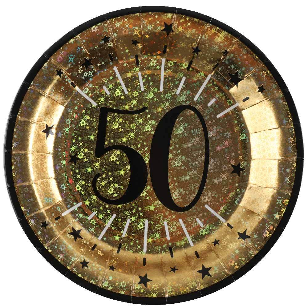 50th Birthday Sparkling Plates (x10)