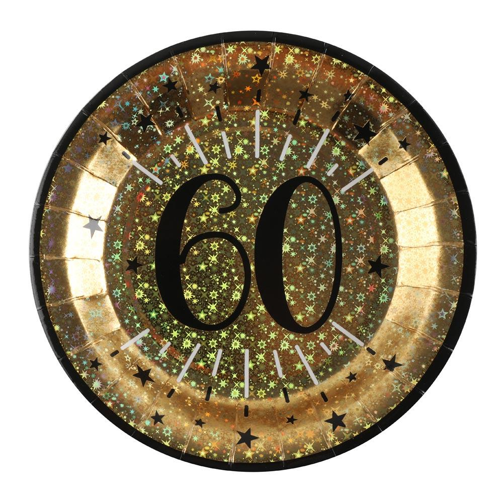 60th Birthday Sparkling Plates (x10)