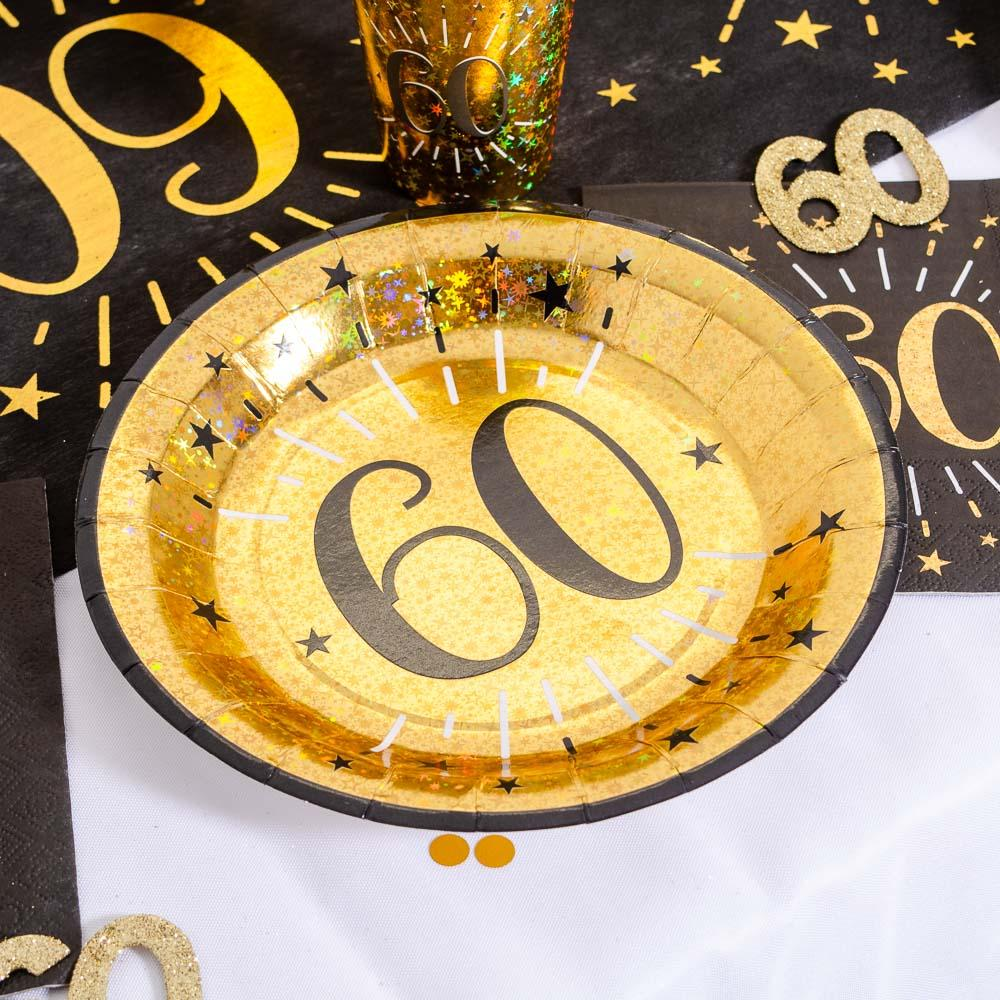 60th Birthday Black & Gold Sparkle Plates (x10)