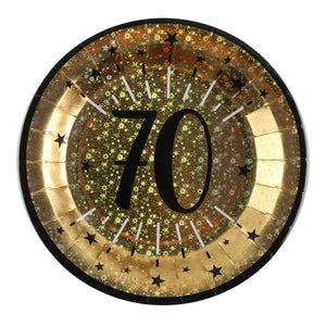 70th Birthday Black & Gold Sparkle Plates (x10)
