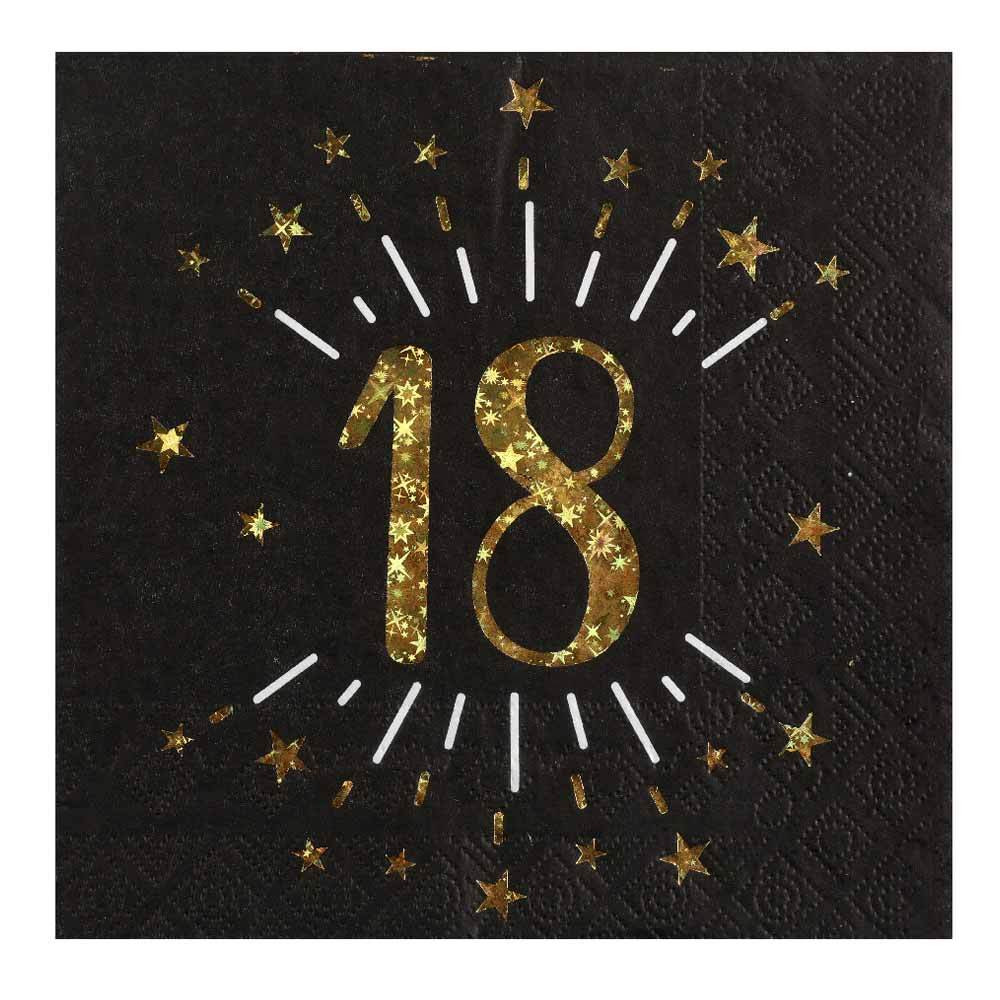 18th Birthday Black & Gold Sparkle Napkins (x10)